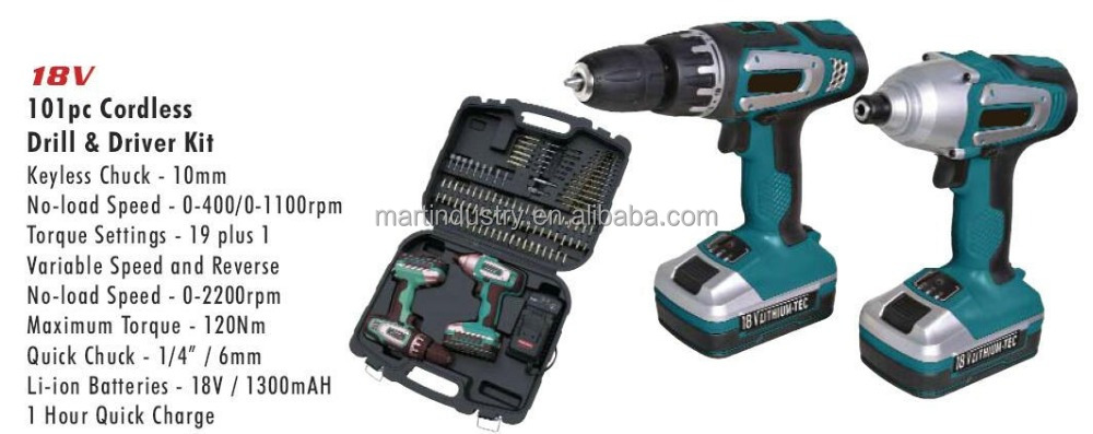 Cordless Drill and Driver Kit - 18V Cordless Drill & Driver Kit - 101pc with 18V Li-ion Battery