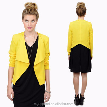 New Design Short Ladies Formal Blazer Long Sleeve Yellow Blazer ...