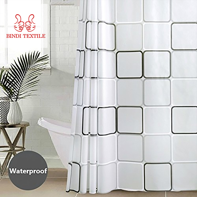 Free sample washable sublimation shower curtain set for bathroom