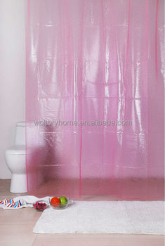 Solid Pink 3D EVA Shower Curtain Plastic Transparent Curtains