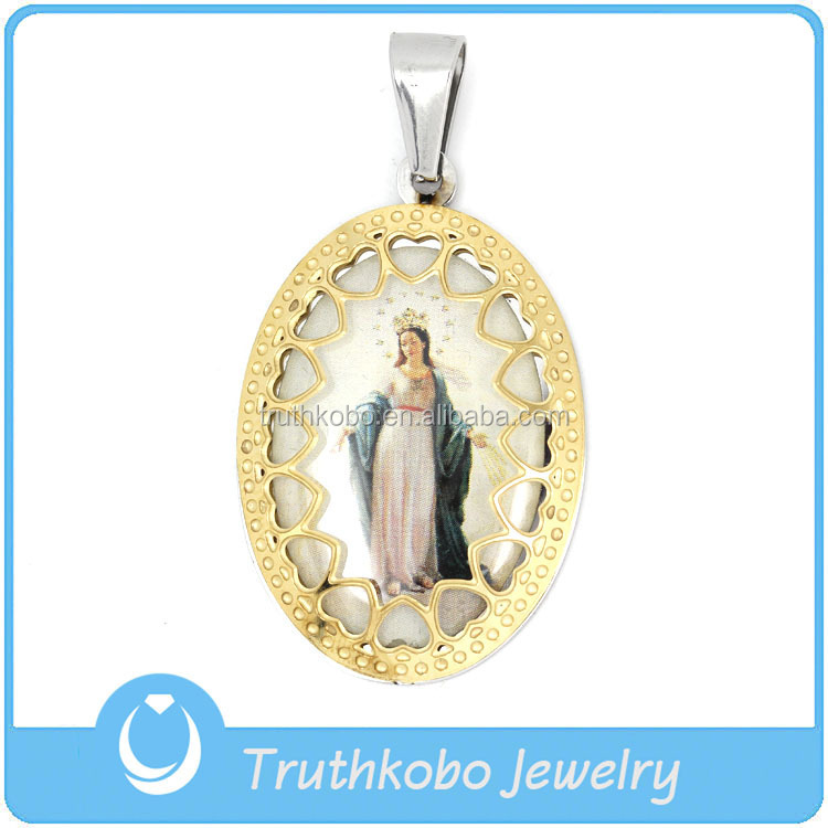 women steel christian necklace mother medal for dp mary jewelry stainless virgin necklaces pendant xjful religious medallion com men amazon