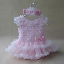 Newborn Baby Girl Ruffle Dress Clothes Princess Style Summer Girls Romper Dress & Headband Pink Infant Party Costume Dresses