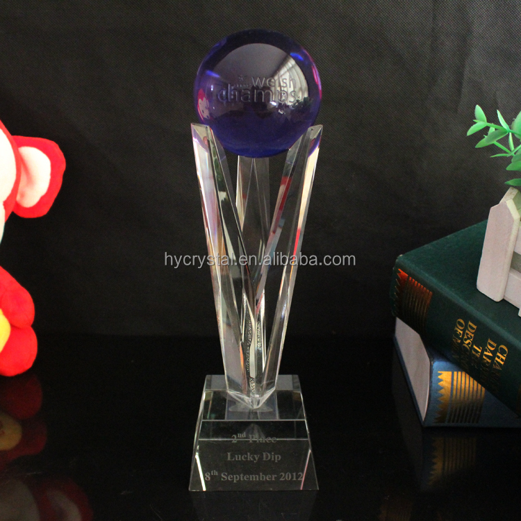 fancy beautiful sports competition's souvenir crystal nba replica handmade blue ball clear glass trophy
