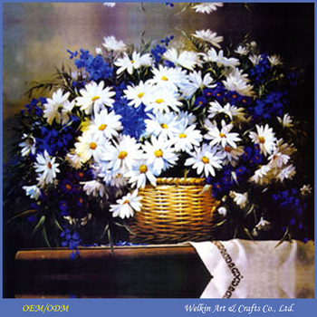 Beautiful Wall Art Blue Flowers Paintings Canvas With Led Light ...