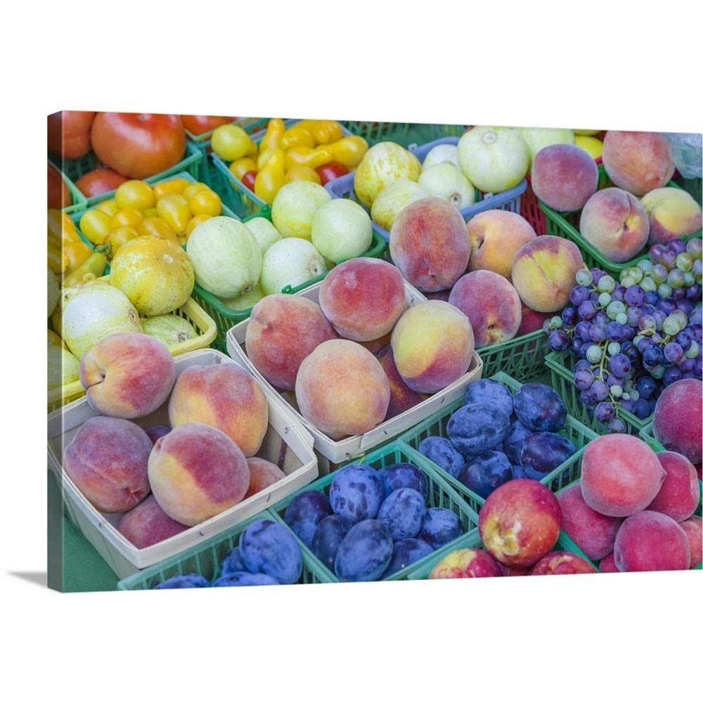 """Great Big Canvas Gallery-Wrapped Canvas Entitled Fresh Fruits Vegetables at Farmers Market 36""""x24"""""""