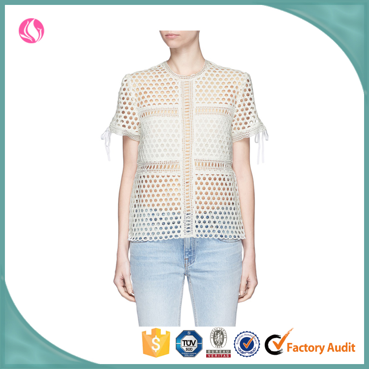 see through t shirt with short sleeve by guangzhou clothing factory