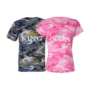 HS Wholesale Camo Shirts High Quality Organic Clothing American Apparel Couple King Queen Short Sleeves T Shirt