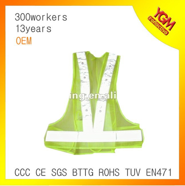 fluo green LED light reflective waist belt