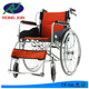Chromed silver handy push wheelchair in black with iron steel body RJ-W868L