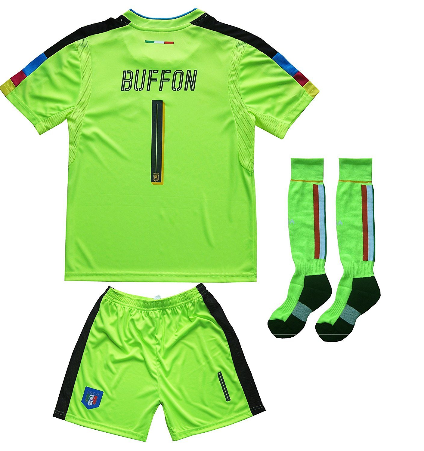 70f3fecc69d Get Quotations · FCW 2018 Italy Home  1 Gianluigi BUFFON Football Futbol  Soccer Kids Goalkeeper Jersey Shorts Socks