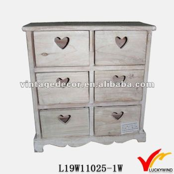 Heart Cutout Vintage Drawer Storage French Country Small Wooden Cabinet