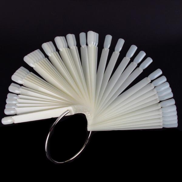 Hot Sale Fashion 50Pcs Clear white False Nail Art Tips Sticks Polish Display Fan Practice Kit