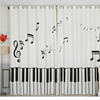 New 3D White Piano keys Pattern Flannel Kids Blackout Curtains