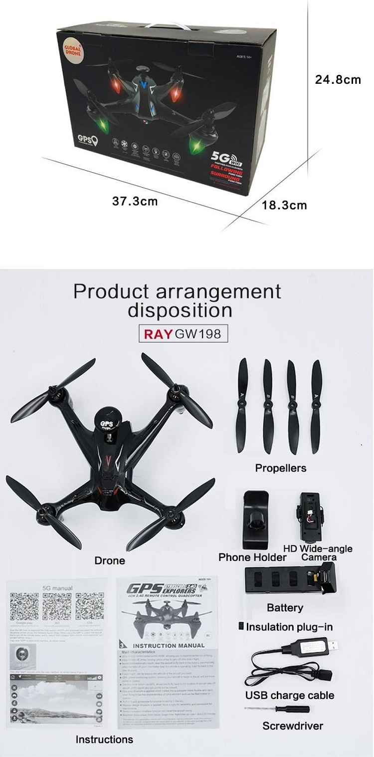 Global Drone GW198 Professional FPV Brushless drone Camera 1080P follow me long range drone with 4K camera and GPS VS MJX b2w.jpg