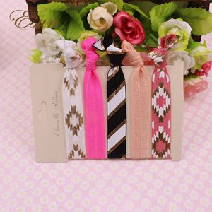 High end ponytail holders elastic mix styles baby pink fancy hair ties