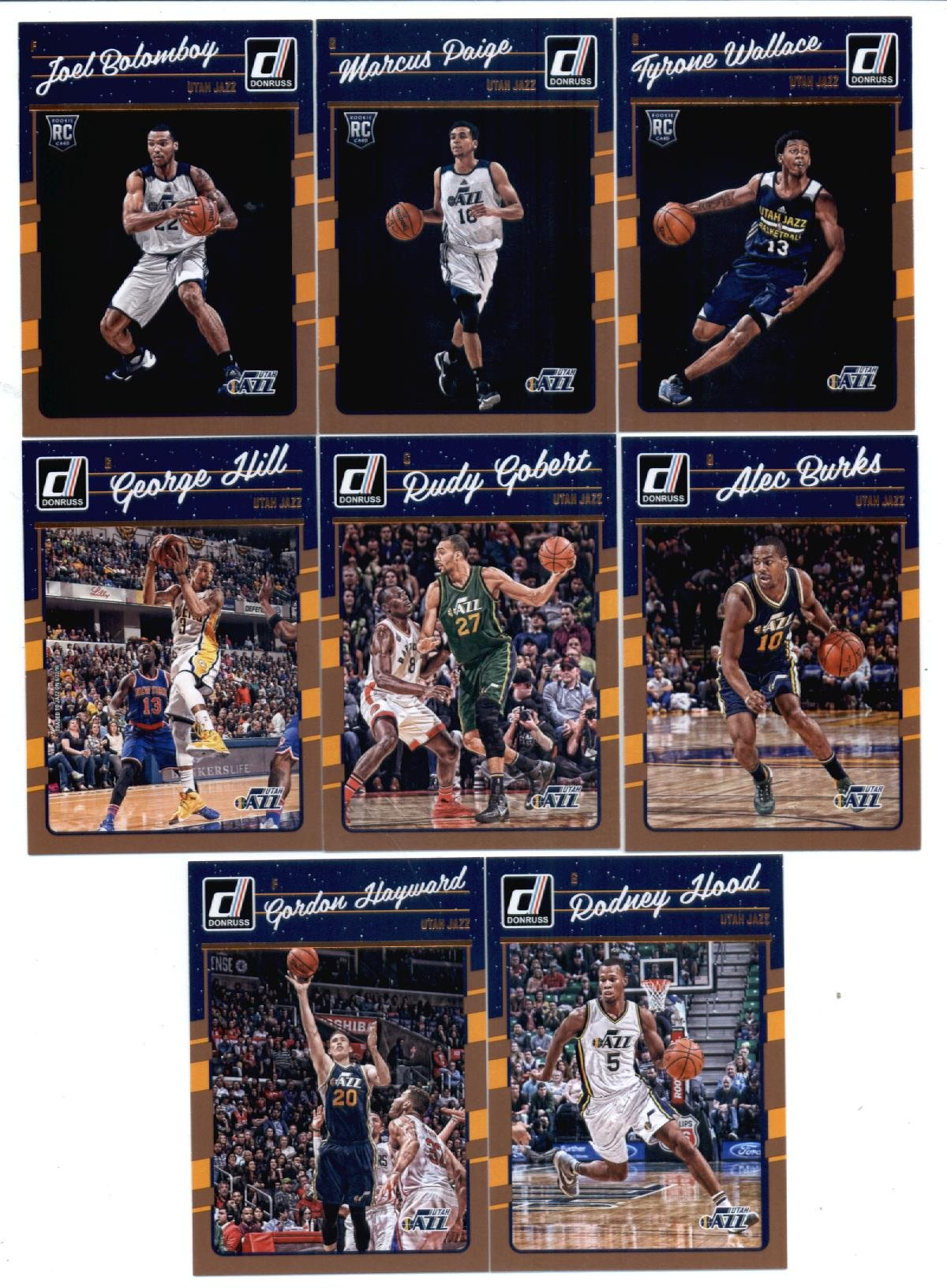 2016-17 Donruss Basketball Utah Jazz Team Set of 8 Cards in 4-Pocket Collector's Album which includes: Alec Burks(#49), Rudy Gobert(#50), George Hill(#51), Gordon Hayward(#52), Rodney Hood(#53), Joel Bolomboy(#191), Marcus Paige(#193), Tyrone Wallace(#197)