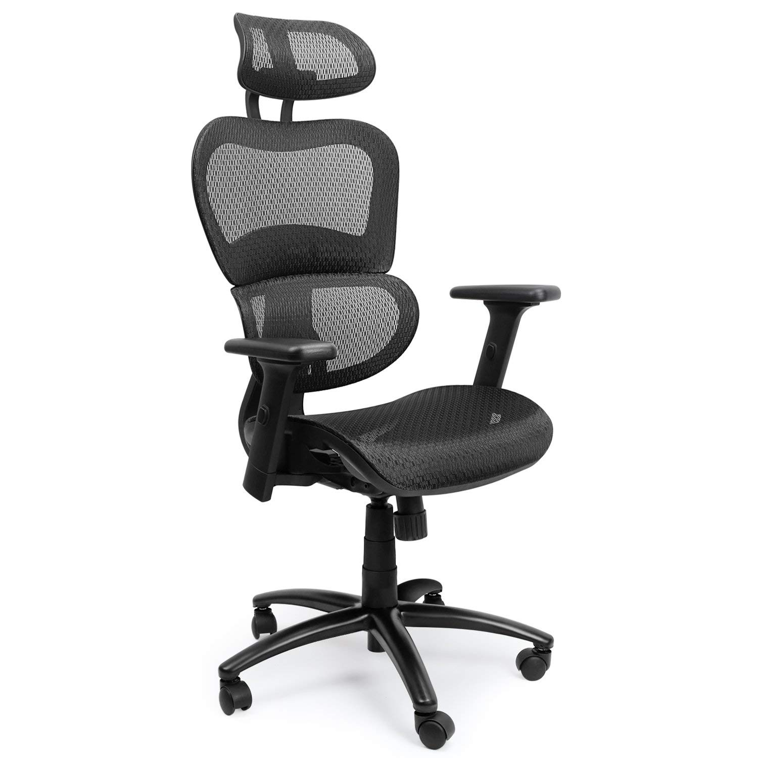 Mysuntown Task Chair, Ergonomic Mesh Office Chair for Home or Office Room, Chair with Back Support, Adjustable Headrest & Adjustable Armrests