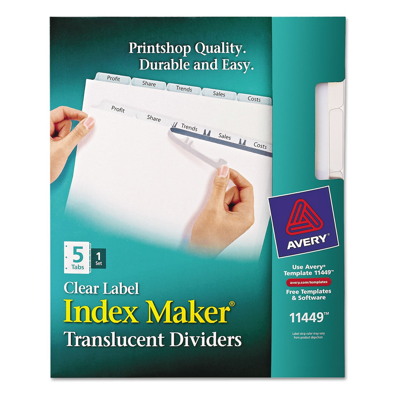 AVE11449 - Avery Index Maker Translucent Clear Label Divider