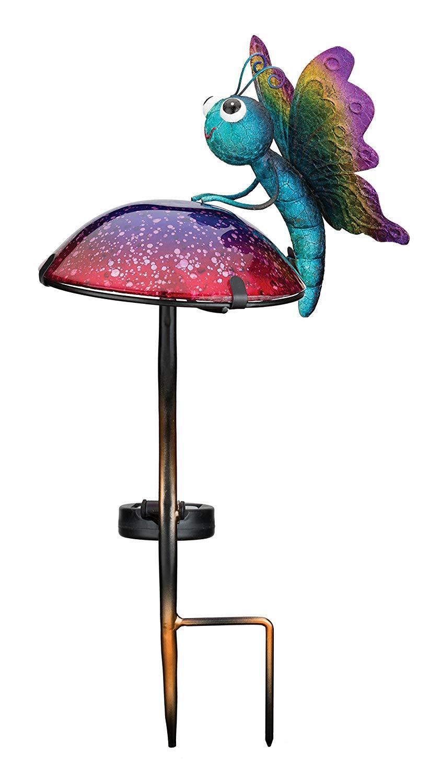 Regal Art & Gift 11796 Mushroom Critters Stake Solar Light Garden Decor, Butterfly