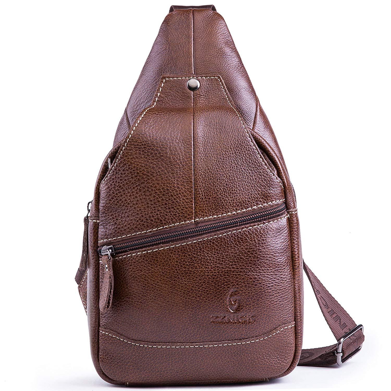 a1799ebc26 Get Quotations · Genuine Leather Shoulder Sling Backpack Bag Unisex Outdoor  Crossbody Sling Pack Sport Daypack