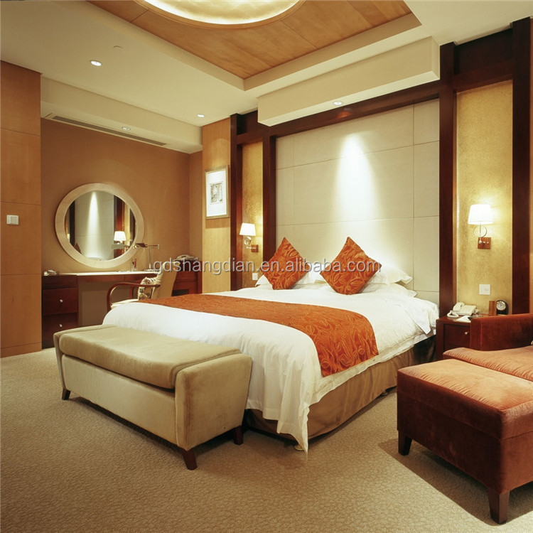 High gloss hotel bedroom furniture double bed design for for Hotel decor for sale