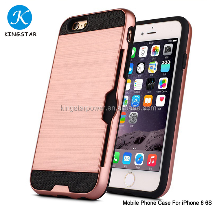 Free Sample 2017 New Arrival Wire Drawing Cell Phone Case With Card Slots For i Phone 6 6S case