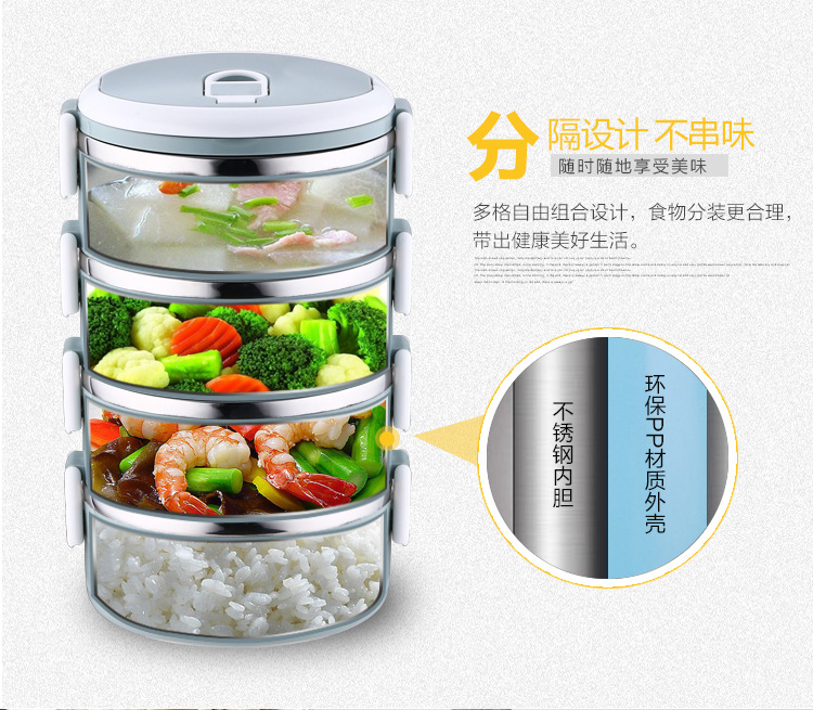 3 Layers Leakproof Stainless Steel Lunch Box Lunch Container with Silicone Seal Ring