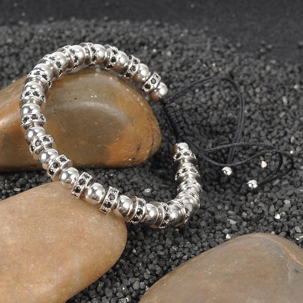 New Jewelry 2018 Boys Fashion Hand Adjustable Stainless Steel Bead Bangles And Bracelets