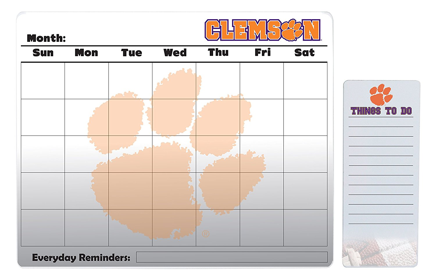 "Clemson Tigers 16"" x 20"" Dry Erase Calendar Peel and Stick and 4"" x 10"" Dry Erase Board Peel and Stick"