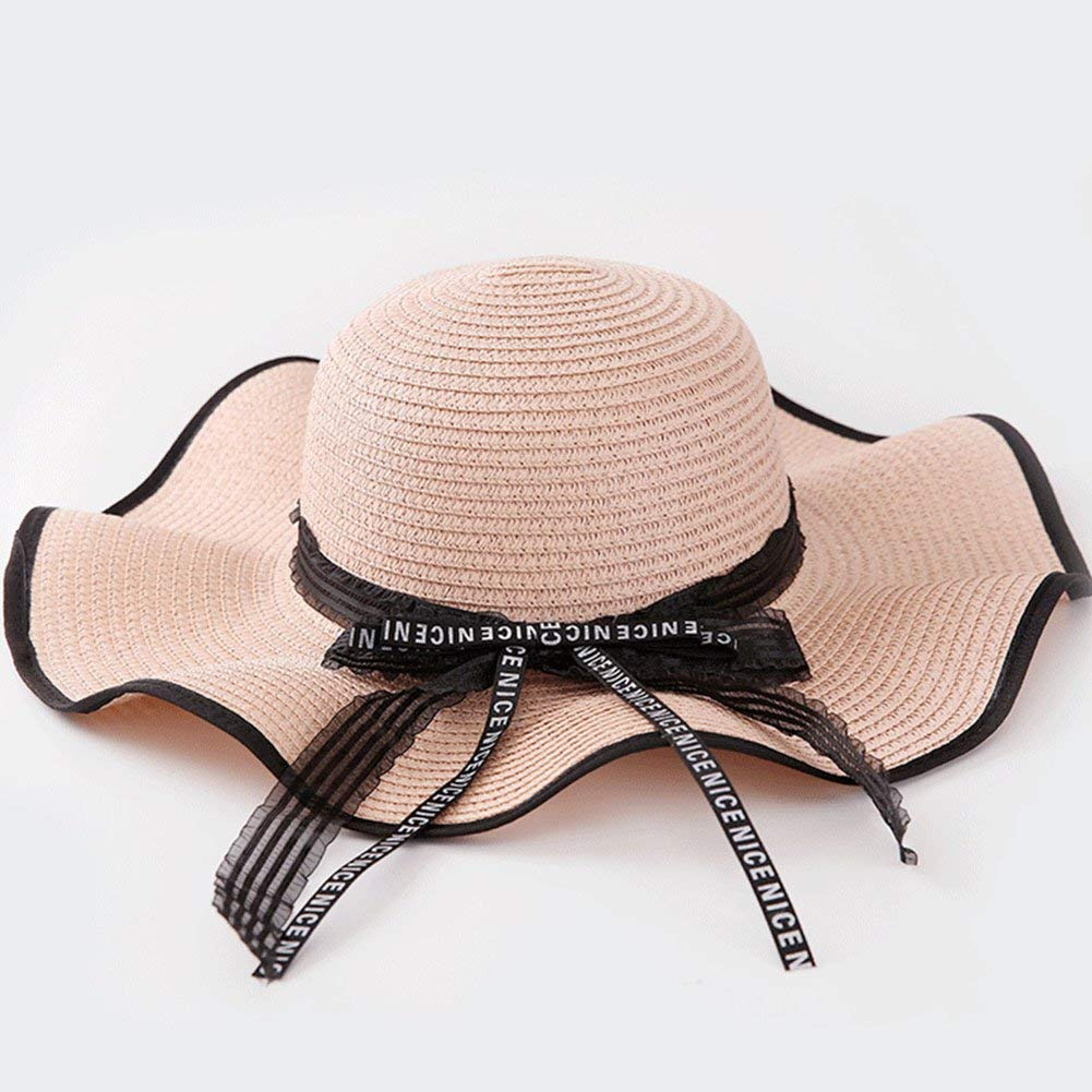 08d49c656ab Get Quotations · Lace Letter Band Straw Hat Sunscreen Outdoor Large Brimmed  Hat Ms. Irregular Brim Hat Outdoor