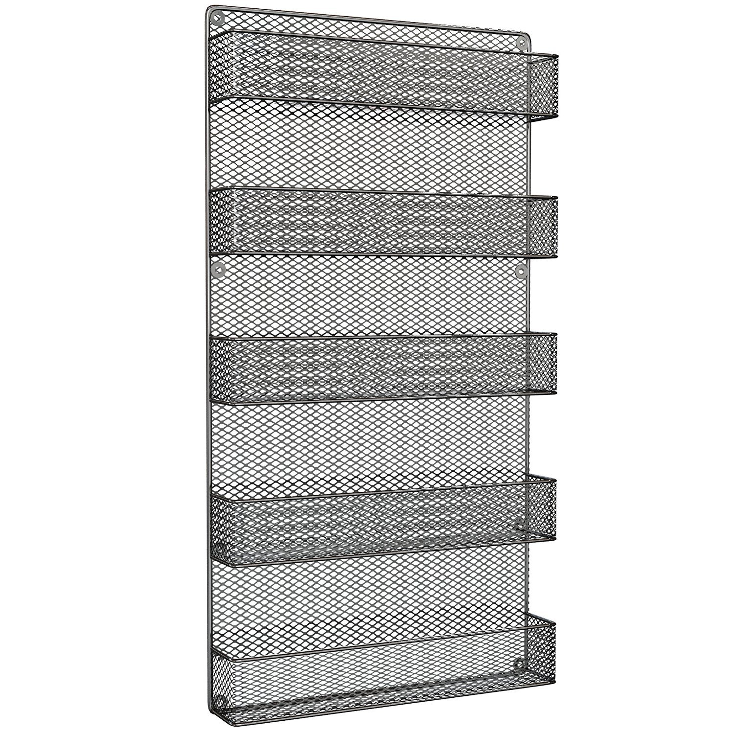 Spice Rack Organizer - Country Rustic Wire Style - Great Storage for Pantry, Cabinet and Kitchen - Wall Mounted 5 Tier Shelves