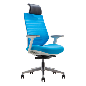 2018 New leather headrest blue mesh high back staff chair / manager chair