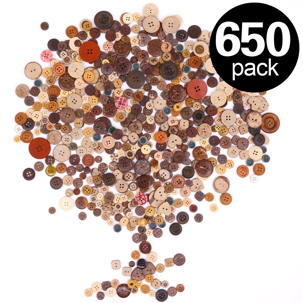 Findfly 650Pcs Resin Buttons Favorite Findings Basic Buttons 2 and 4 Holes Craft Buttons for Arts, DIY Crafts, Decoration, Sewing - Sizes Range from 0.28 to 1.18 Inch (Coconut Shell)
