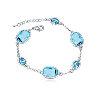 blue crystal bangles with big diomand jewelry bracelet