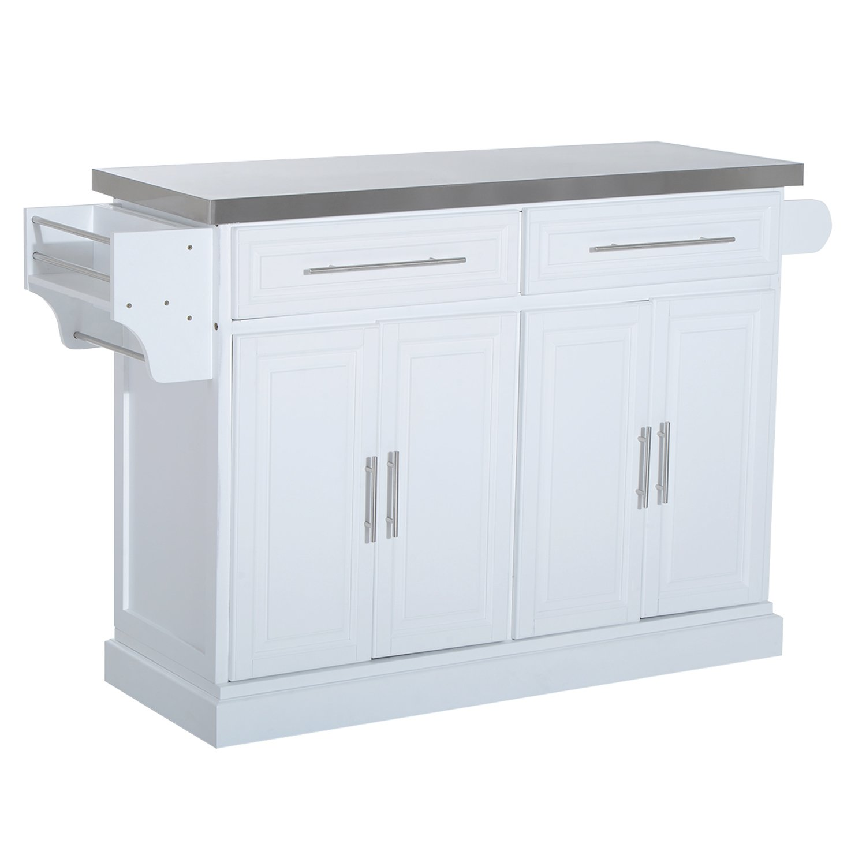 HomCom Modern Rolling Kitchen Island Storage Cart w/ Stainless Steel Top - White