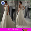 New Fashion Ball Gown Lace Appliqued Beaded Illusion Back Indian Bridal Wedding Dress