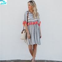 HFS1603B Women Short Sleeve Swing Dress Striped Tassels Casual Dresses