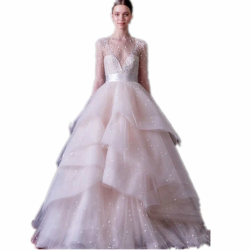 Get Quotations  C2 B Pearls Layered Ball Gown Half Sleeve Wedding Dresses Luxury Beaded Shiny Crystal Sparkling Bridal