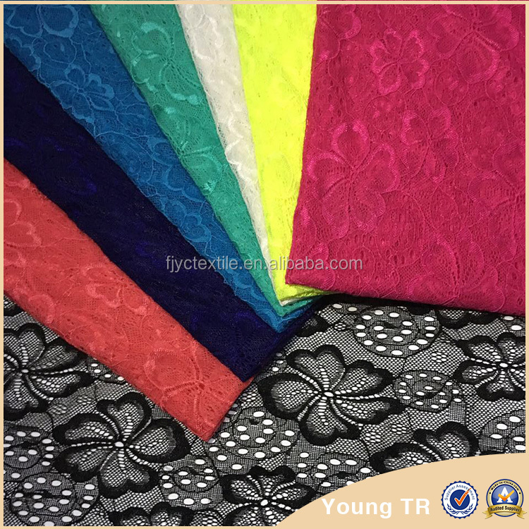 New hotest flower plain spandex guangzhou tokay lace
