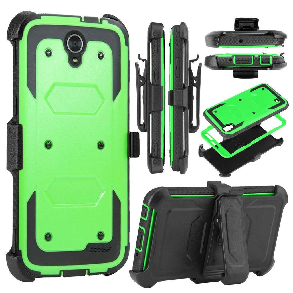 KooJoee Green Armor Defender Case Compatible with ZTE Avid Trio/Prestige 2 N9136/ZFive 2/Sonata 3/Maven 2/Avid Plus,Shockproof [Swivel Belt Clip] Full Body Holster Case W/Built-in Screen Protector
