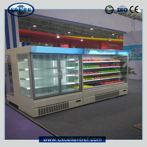 commercial refrigerator with 2or 3 glass doors used as back bar cooler
