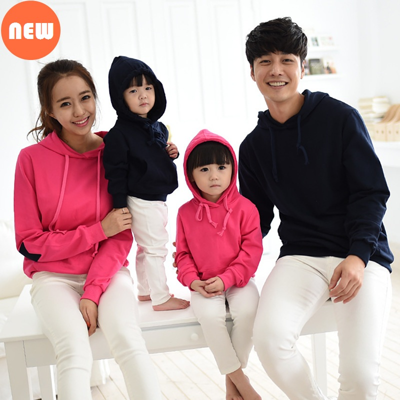 Family matching clothes thick warm Kids hoodies New year Mom and daughter matching clothes Parent child