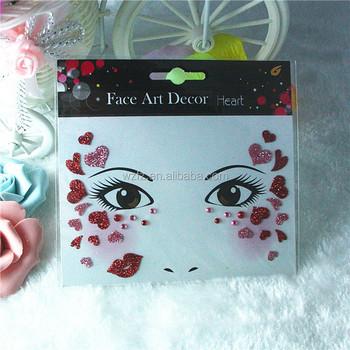 Halloween Decorative Face Glitter Heart-Shaped Sticker
