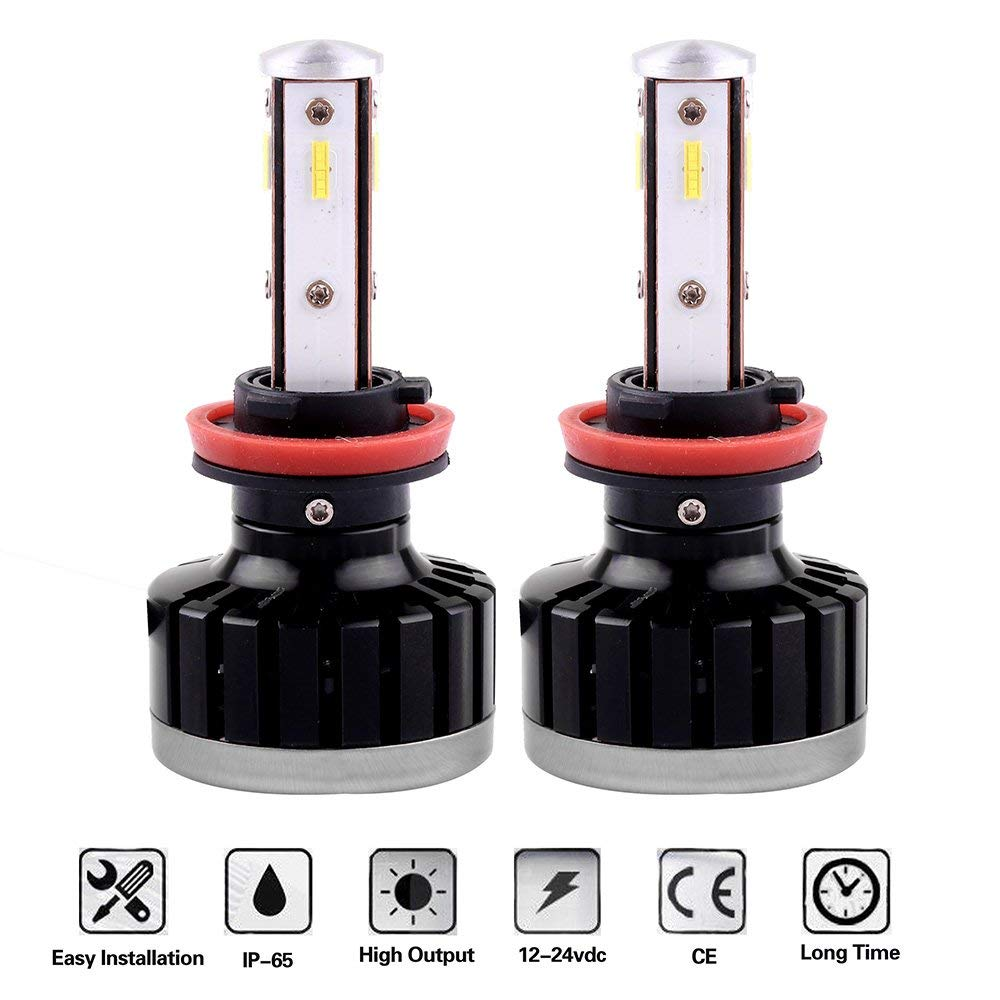 Scitoo H11/H8/H9 LED Headlight Bulb Conversion Kit High Low Beam Brighter Cree White Light LED Headlight - 8000Lm 75W 6000K Focus Light - 1 Year Warranty