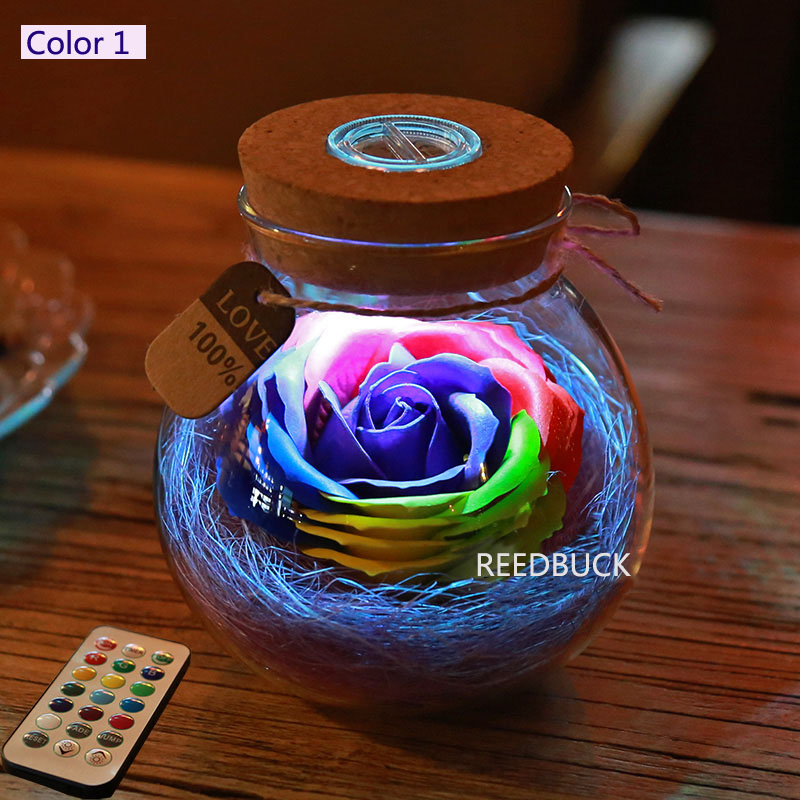 Led Romantic Rose Flower Night Light Lucky Bottle RGB Dimmer Lamp With 16 Color Remote Holiday Gift For Lover Girl Bedroom Decor (7)