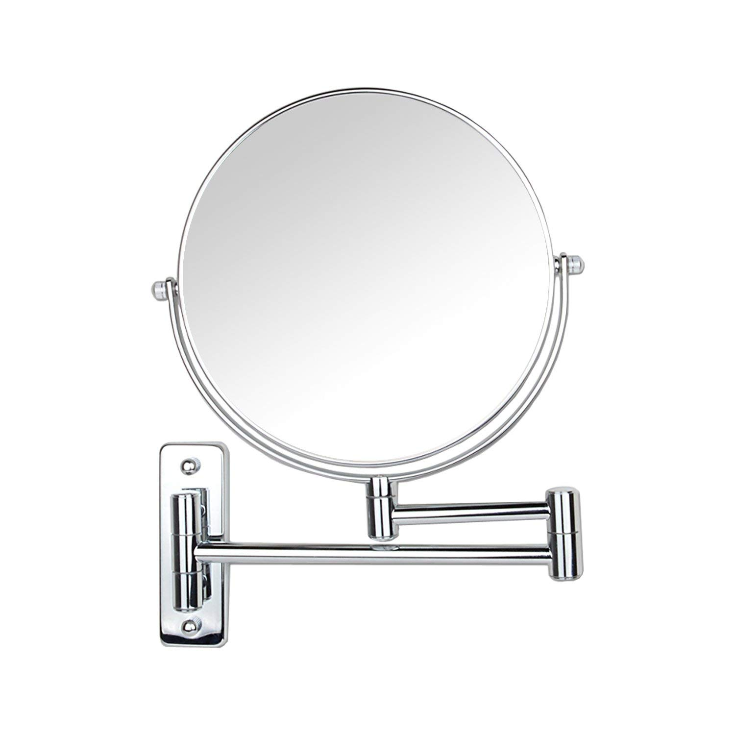 Naturous Wall Mounted Makeup Mirror, 8-Inch Two-Sided Extension Wall Mount Mirror with 3x Magnification, 12-Inch Extension Chrome Finish