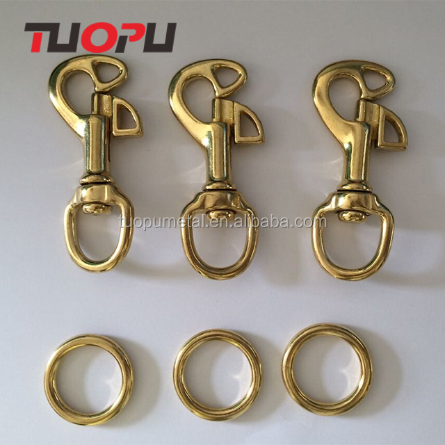 China wholesale bag accessories metal brass fashion trigger swivel eye spring hook