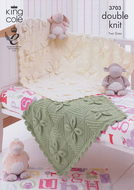 King Cole DK Baby Double Knitting Pattern Babies Pram & Cot Blanket 3703