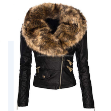 PU big collar short faux fur women motorcycle jacket