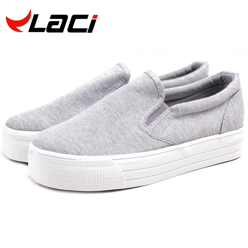 shoes woman 2016 Low Ladies Canvas Shoes Platform 2cm Flats Slip On Casual Solid Woman Leisure